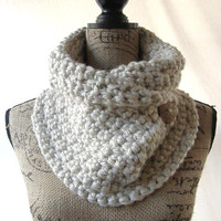 Ready To Ship New Tan Chunky Cowl Coconut Button Scarf Fall Winter Women's Accessory Infinity