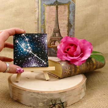 Tiny Hand Painted Taurus Constellation Painting