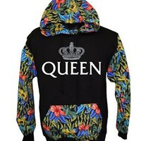 Queen Flower Pullover Hood Sweatshirt Flower Print