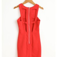 Back Cut Out Red Dress