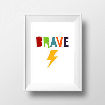 Brave Modern Stylish print, Nursery Art, Kids Room Decor, ABC Poster, Digital, Instant Download, Typography, Minimalist, Letters, Blue, Red