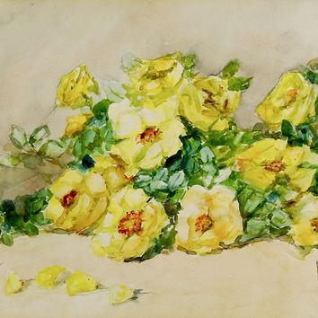 Yellow Roses Still Life Watercolor Painting