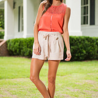 I'd Love To Bow Shorts, Khaki