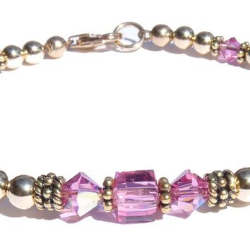14K GF Tourmaline October Birthstone Beaded Bracelets Pink Swarovski Crystals