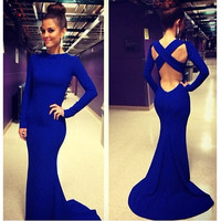 Sexy Women Backless Prom Gown Bodycon Ball Party Evening Formal Maxi Long Dress blue