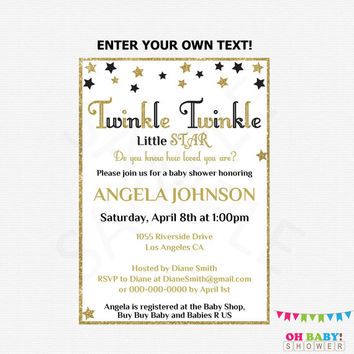 Black and Gold Baby Shower Invitation, Twinkle Twinkle Little Star Baby Shower Invitation, Editable PDF Girl Baby Shower Boy Printable STBLG