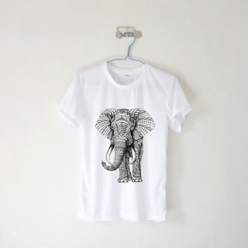 Tribal Aztec Elephant Drawing Unisex Tshirt / White Grey Blue Pink Yellow / Tumblr Inspired / Plus Size / Toddler, Kid Size