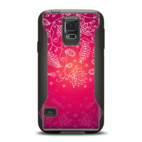 The Vibrant Pink & White Branch Illustration Samsung Galaxy S5 Otterbox Commuter Case Skin Set