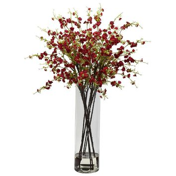 Silk Flowers -Giant Red Cherry Blossom Arrangement Artificial Plant