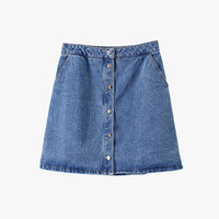 Wash Blue Denim Button Front Mini Skirt