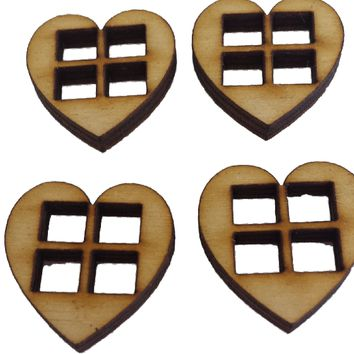 Miniature Heart Shaped Windows Set of 4 : Fairy Garden Accessories / Wooden Accessory Dolls House