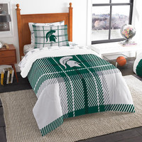 Michigan State Spartans NCAA Twin Comforter Bed in a Bag (Soft & Cozy) (64in x 86in)
