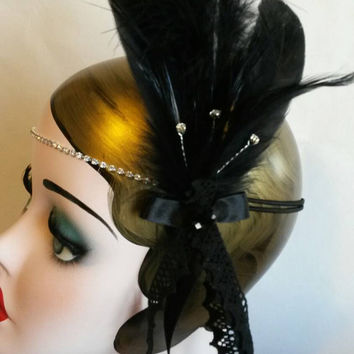 Gatsby headband, black feathers, jazz band, dancer, 1920s wedding, bridal hair