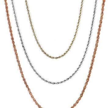 Plain  Rope  Chain 65 cm Necklace 925 Sterling Silver