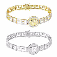 Medusa Greek Link Bracelet 14k Gold & Silver Tone Hip Hop Simulated Diamond 20mm