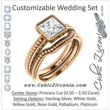 CZ Wedding Set, featuring The Cheyenne engagement ring (Customizable Princess Cut Bezel-set Solitaire with Beaded Filigree Three-sided Band)