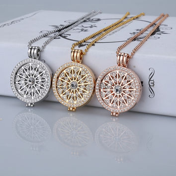 High grade sale flowes gold 35mm coin necklace pendants disc fit my 33mm coins holder for women fashion jewelry locket