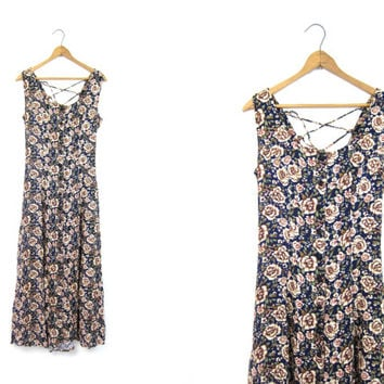 90s Floral Dress Long Maxi Dress Blue Pink Green Flower Print SunDress BOHO Vintage 1990s Button Down Preppy Revival Slip Dress Small Medium