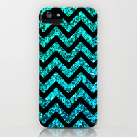 Chevron Aqua Sparkle iPhone Case by M Studio (NOT REAL GLITTER)