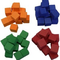 """Foam Counting Blocks (Set of 50) 3/4"""" x 3/4"""" - Colors Red, Orange, Blue, and Green"""