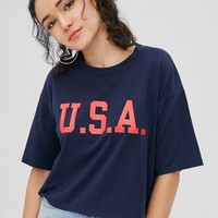 USA Pattern Drop Shoulder Tee