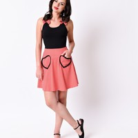 Black & Red Polka Dot Color Block Mimmie Knit Stretch Flare Dress
