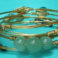 Ships Free! Green Beaded Wire Wrapped Bangle Bracelet (Inspired by the popular Bourbon and Bowties) - Great gift for Bridesmaids, Birthdays