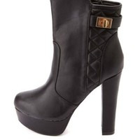 Bamboo Quilted Chunky Heel Platform Booties - Black