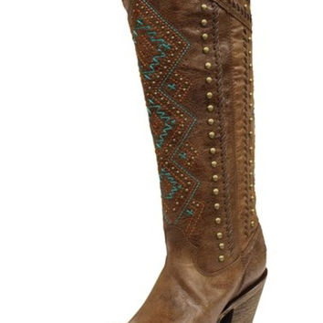 Corral Chedron Turquoise Ethnic Pattern & Stud Boots C2897