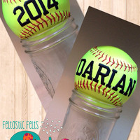 Customized embroidered softball. Coach gift, custom, sports, ball