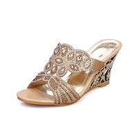 Women's Open Toe Rhinestone Outdoor Slipper Wedge Sandals