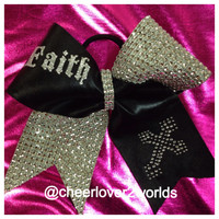 Faith with Cross  Rhinestone Bow Ribbon Cheer Dance