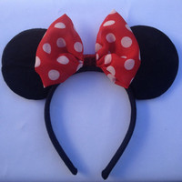 Classic Red Organza Polka Dot Bow Minnie Mouse Ears Headband