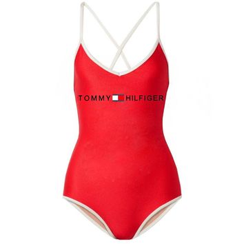 TOMMY HILFIGER Summer Beach Popular Women Sexy Print One Piece Bikini Swimsuit Bodysuit Red