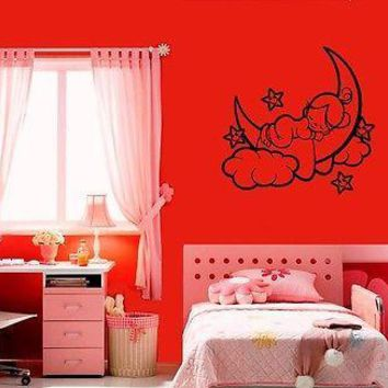 Wall Sticker Vinyl Decal Nursery Baby for Kids Child Angel Cloud Unique Gift ig1225