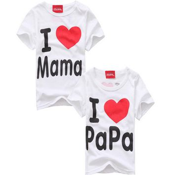 I Love Papa and Mama Print Thin Matching Shirts