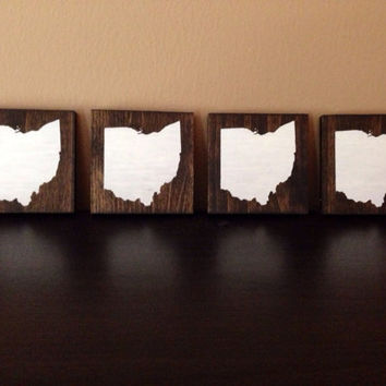 Ohio Wood Coasters, Custom Ohio Coasters, Set of 4, Stained and Hand Painted, Ohio decor