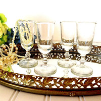 Libbey Cordial glasses FOUR Vintage Liqueur aperitif glasses Mid Century Georgian Bamboo stemware bar ware barware drinking glasses