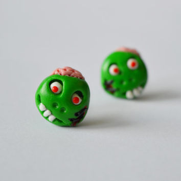 Zombie Earrings,Halloween jewelry,Halloween monster earrings,cute stud,funny Halloween post,unusual piercing,Holiday Character earstud,pins