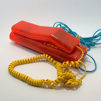 Vintage Swatch Twin Phone Push Button Red Yellow Blue Collectible.