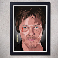 Daryl dixon poster the walking dead print zombie art alternative movie poster