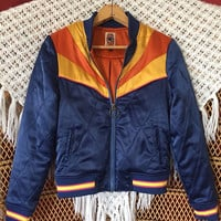 Rising Sun Bomber Jacket PREORDER SALE | as seen on @classicrockcouture Instagram Navy Blue and gold 1970s retro Bomber quilted ski Jacket
