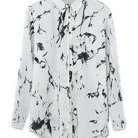 White Printed Shirt Collar Long Sleeve Blouse