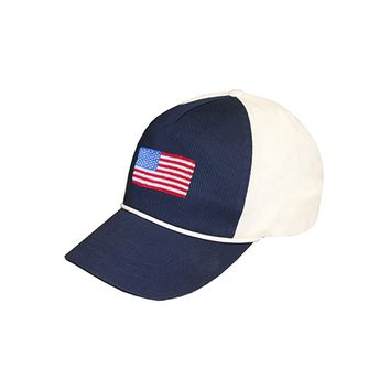 American Flag Rope Snapback Needlepoint Hat in Navy-White by Smathers & Branson