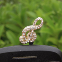 Bling Crystal Musical Symbol Cell Phone Earphone Jack Anti dust Plug Charm for iPhone 4s,4g,5,5s,Samsung S4, Nokia HTC  Smart Phone Charm