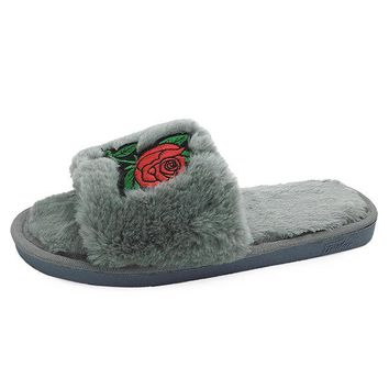 Rose Embroidery Home Plush Winter Slippers For Women