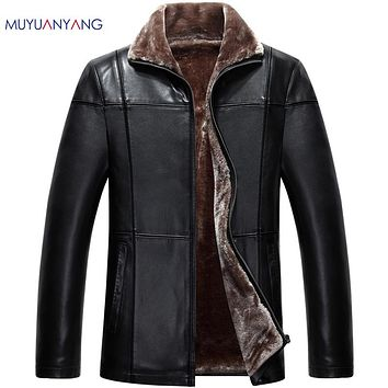 Men's Jackets Thicken Leather Jacket Men Fur Jackets and Coat Warm Wool Liner Overcoat Solid Faux Leather