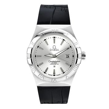 Omega brand fashion trendy men and women watches F-SBHY-WSL Black + silver case + silver dial