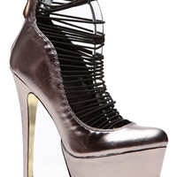 Metallic Elasticized Platform Pumps