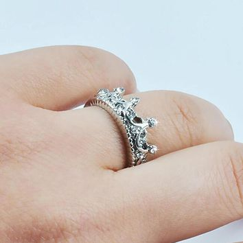 fashion cubic zirconia bling rhinestone crown ring  number 1